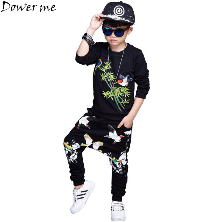Boy Cartoon Bird Clothes Set For Baby Boys Brand Autumn Spring T-shirt+Pants Kid Tracksuit Hip Hop Perform Dance Sport Suit free shipping spring autumn boys t shirt 5pcs lot high quality baby boy t shirt
