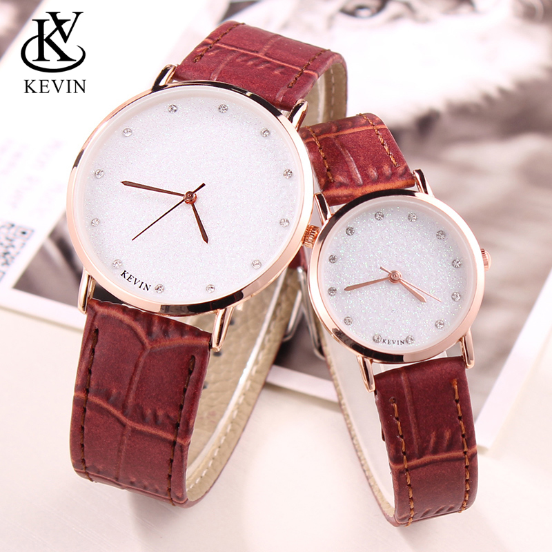 KEVIN KV 2pcs Fashion Leather Couple Watch Men Women Watches Students Gift Simple Quartz Wrist Watch Girls Boys Dropshipping