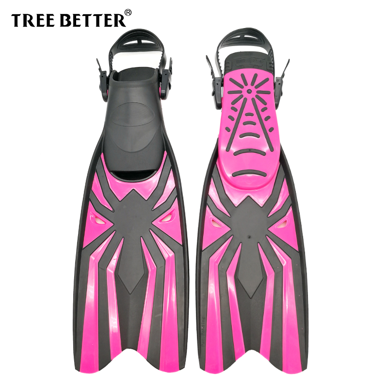 TREE BETTER Swimming Fins For Women Open Heel Long Diving Fins Professional Frog Shoes Diver Foot Flipper Snorkeling Rose Red