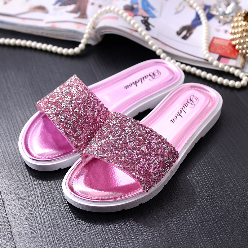 Women Slides 2018 New Summer Bling Shoes Woman Casual Sandals Slippers Sequins Beach Slides Flat Comfortable Pu Leather Shoes brand new women girl sandals summer shoes simple beach shoes flat slides sandals sandale femme hot sale 1 pair