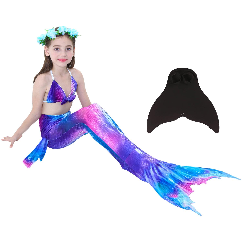 NEW Beautiful Mermaid Tails With Monofin For Kid Girls Costume Swimmable Swimsuit With/no Bikini Flipper Costumes Children Girls