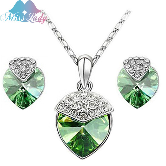 2e4468fcb0b3 Miss Lady Silver color Rhinestone Crystal Peach Heart Crystal Jewelry Sets  Wholesales Fashion Jewelry for women MLZ1160