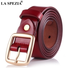 LA SPEZIA Leather Women Belt For Jeans Red Classic Pin Buckle Ladies Fashion Genuine Cowhide Female Square Belts