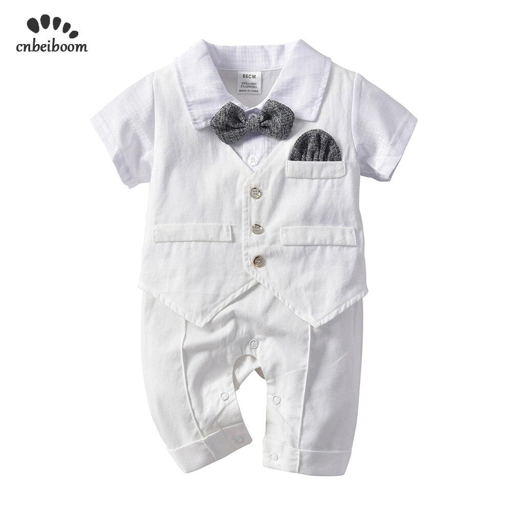 Baby Boy   Rompers   white gentleman tie suits newborn   romper   vest cotton jumpsuit infant kids birthday wedding party clothes 2019