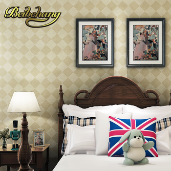 beibehang wall paper Pune England grid diamond classic American country study backdrop bedroom full shop wallpaper warm