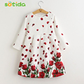 Girls Dresses Long Sleeve 2016 Brand High-quality Kids Princess Dress Rose Flower Kids Clothes for Girls 3-8Y Children Clothes