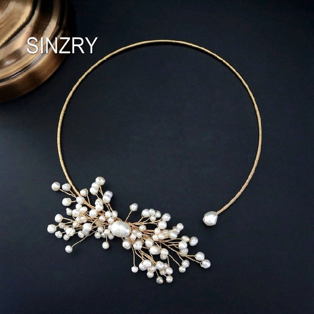 SINZRY original design handmade natural freshwater pearl snowflake chokers necklace band for Women dress bridal jewelry Gift