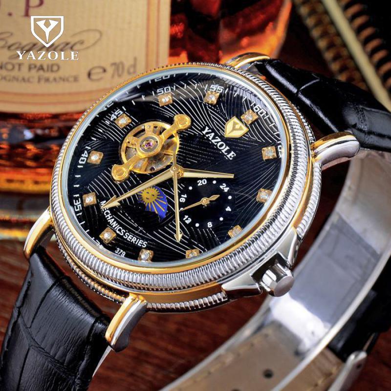 купить YAZOLE Crystal Dress Men Watch Top Mens Watches Top Brand Luxury Tourbillon Automatic Mechanical Wristwatch Montre Homme по цене 1778.81 рублей
