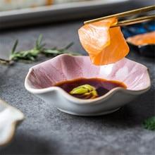 Japanese Style Ceramic Kiln Glaze Flower Type Dish Home tableware Sauce Tableware