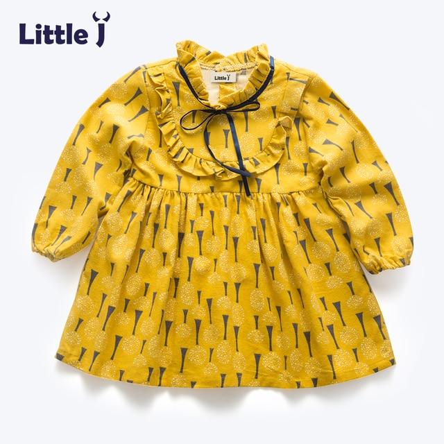 Originele Kinderkleding.Klaring Geel Lange Mouwen Meisjes Originele Ontwerp Katoen Zomer