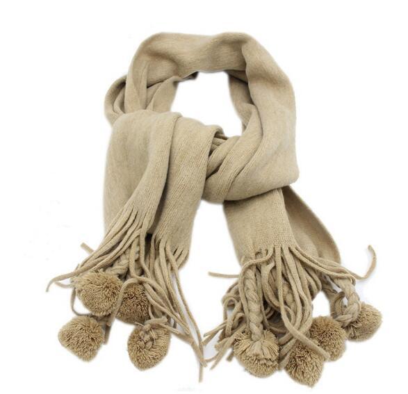 Для женщин зимние теплые и мягкий кашемир кисточкой длинный шарф модные однотонные Шерсть пашмины