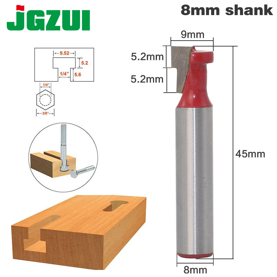 1/4 Hex Bolt T Slot Router Bit - 8 Shank dovetail straight t slot arden router bit 1 4 5 8 huhao 6617