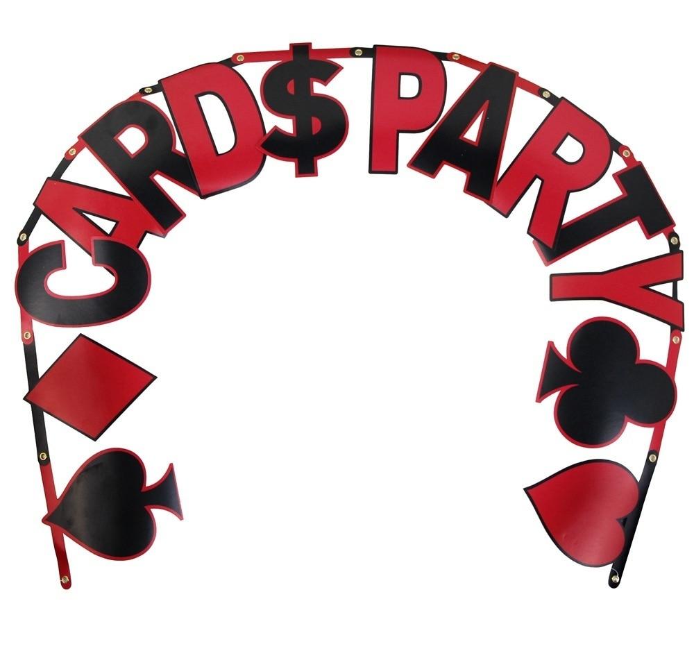 Poker Card Logo Banner Las Vegas Themed Party Decoration Night Dangling Cutouts Card Symbols Garland Backdrop Decor