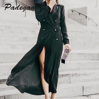 PADEGAO Black Windbreaker Super Long Coat 2017 Autumn Winter Style Fashion Robe Pull Women S Clothing