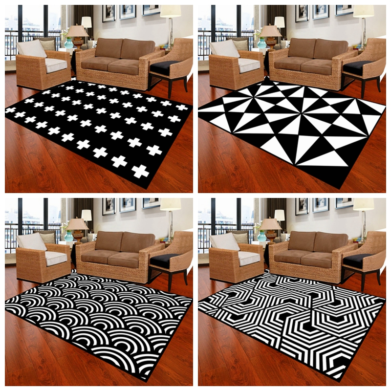 Pleasant Us 9 8 36 Off Large European Geometric Black And White Carpet Area Rugs For Bedroom Livingroom Kitchen Bathroom Door Mat Anti Slip Home Tapete In Download Free Architecture Designs Crovemadebymaigaardcom