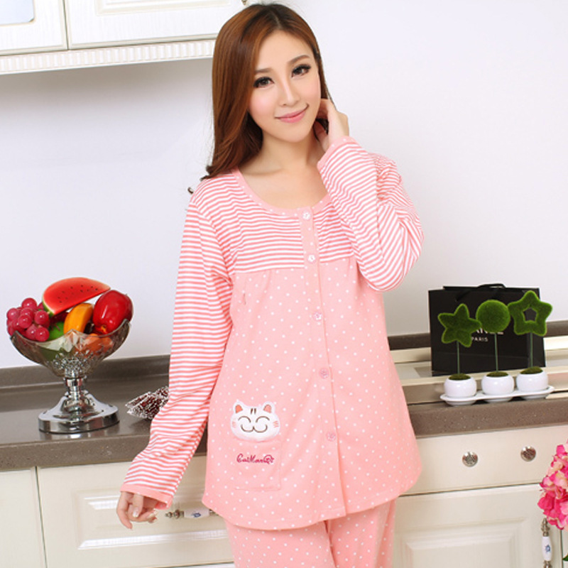 2017 cute pink Long Sleeve Maternity Pajamas Set Cute Cat Breastfeeding Clothes for Pregnant Women Comfy Nursing Sleepwear
