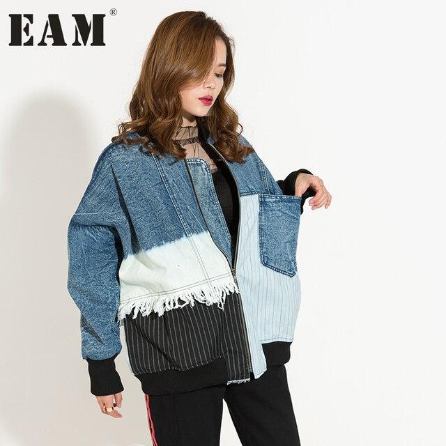 [EAM] 2017 Весна тенденции моды новый стенд воротник с длинными рукавами джинсовая куртка свободно большой Размеры пальто женщин прилива 2A001