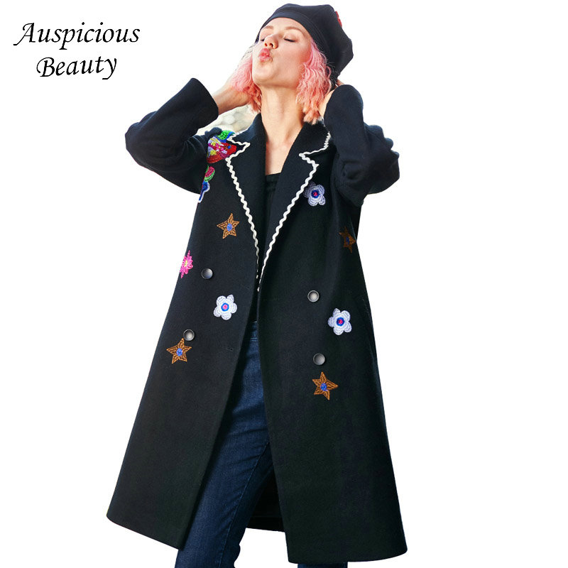 High Quality New Autumn and Winter Women Embroidery Woolen Coat Long Section Flowers Wool Blend Coat Female Overcoats Black CX69