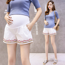 Summer Casual Loose Maternity Shorts Embroidered Wide Leg Pregnant Short Pants Adjustable Belly Waist Pregnancy Shorts summer casual loose maternity shorts low elastic waist side white strip pregnancy short pants stomach lift pregnant shorts