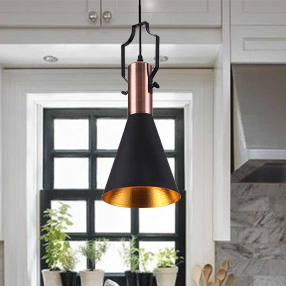 Retro Industrial Chandelier Light Black Metal Shade