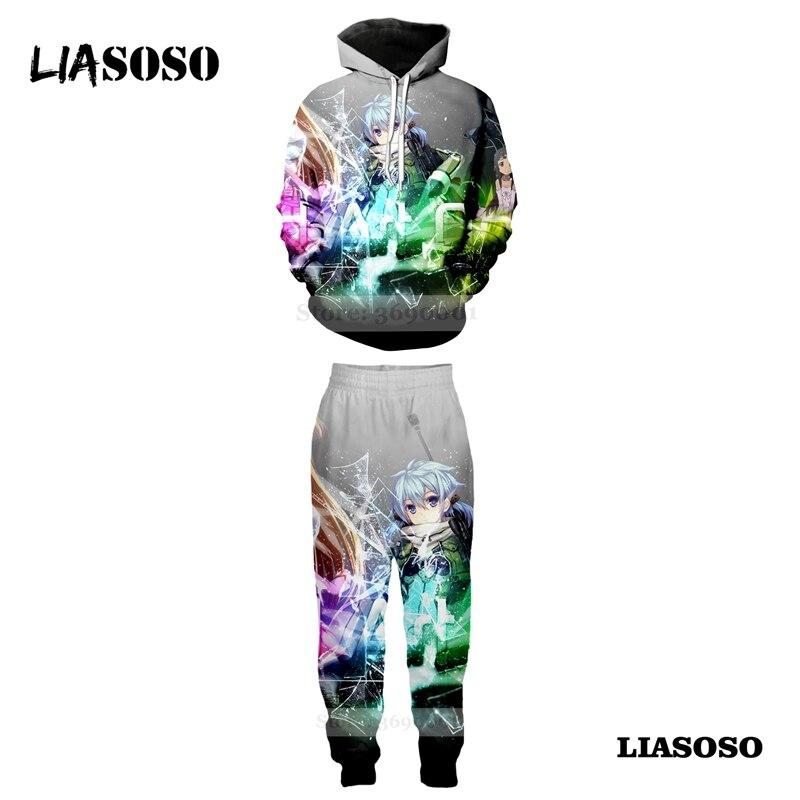 LIASOSO Sweatshirt Hooded Hoodies Set Suit Pants 3D Print Unisex Anime Sword Art Online Sachi Kazuto Jogging Sweatpants A675