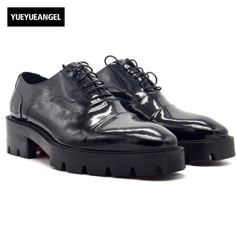 New Formal Men Dress Shoes Leather Office Party Mens Shoes Black Lace Up Thick Platform Male Social Shoe 5CM Plus Size US 4-11.5