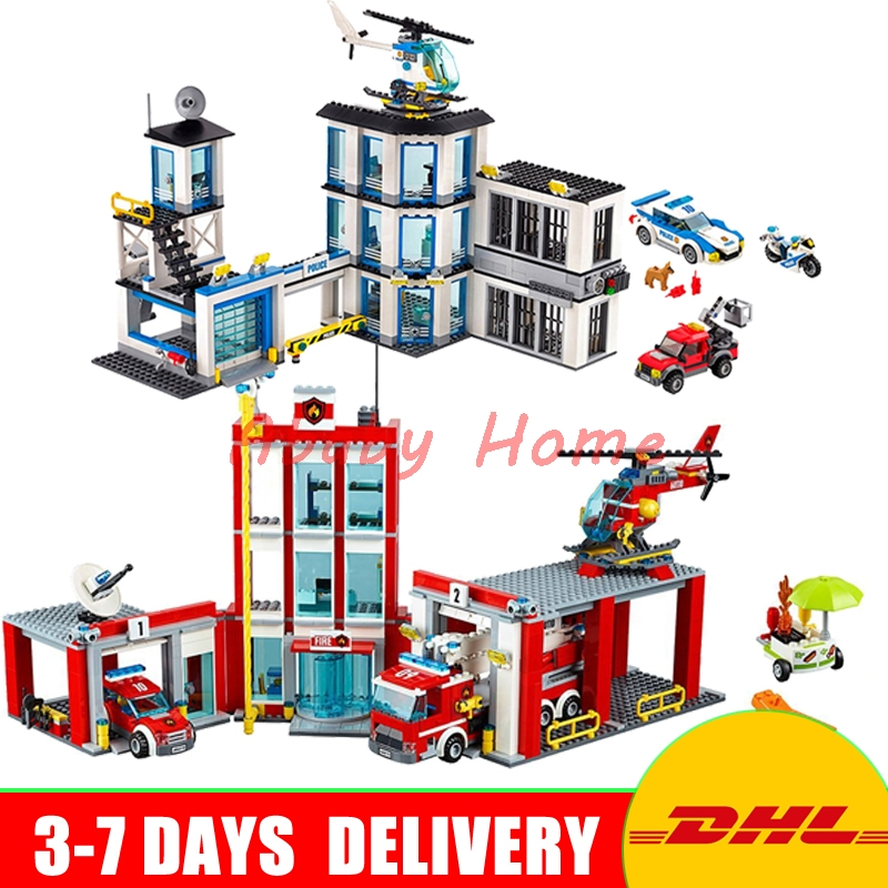 DHL Lepin City Series 02020 New Police Station+ 02052 Fire Station Education Building Blocks Bricks Model Toys 60141 60110 police station swat hotel police doll military series 3d model building blocks construction eductional bricks building block set