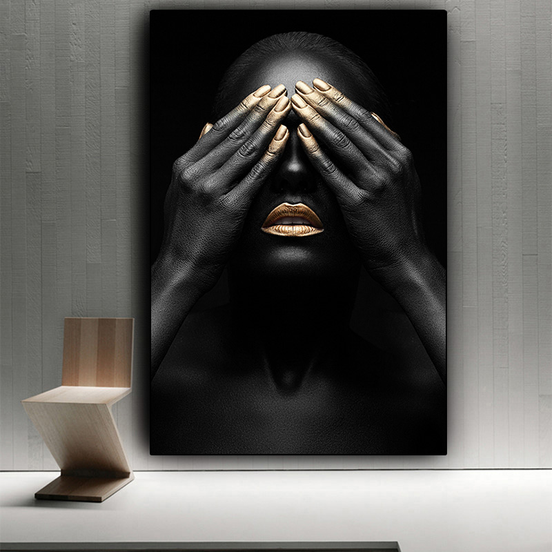 Black Hand And Gold Lip Nude Woman Oil Painting On Canvas Cuadros Posters And Prints African Wall Art Picture For Living Room