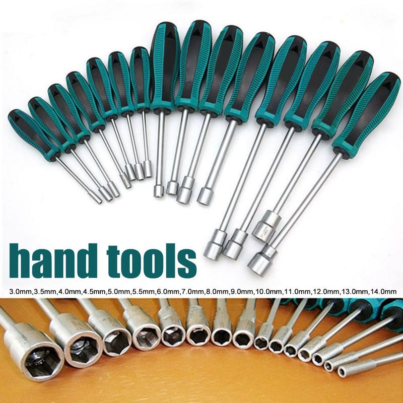 1Pc 3MM-14MM Socket Wrench Screwdriver Metal Hex Nut Key Manual Tool Screwdriver