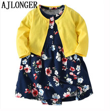 AJLONGER Baby Girls Clothing Sets Children Brand Kids For Clothes Outfit Set Girl Dress+Coat Princess