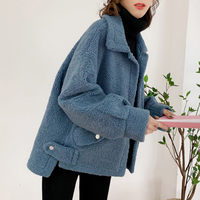 Lamb Coat Female Short 2019 Autumn New Fashion Lapel Covered Button Solid Casual Wool Coat Winter Women Cashmere Jacket f1223