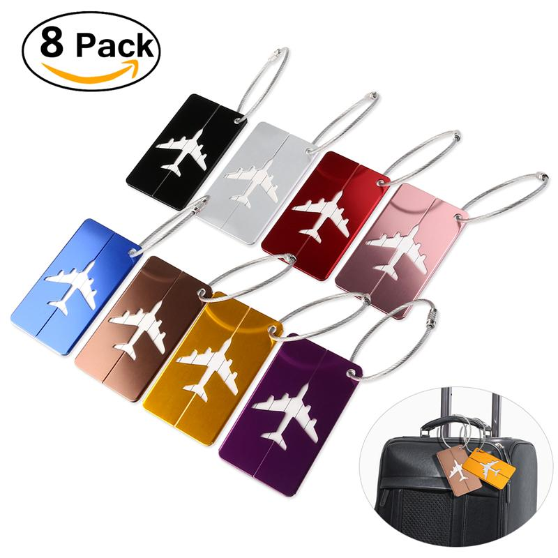 8pcs Aluminum Air Plane Pattern Luggage Tag Baggage Handbag ID Tag Name Card Holder with Key Ring