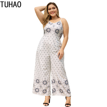 TUHAO 2019 Summer Women Bohemian Beach Jumpsuits Plus Size 4XL 3XL 2XL Ladies Boho Floral Bodysuit Wide Leg Pants Trousers LZ27