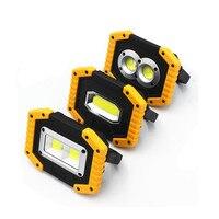 Светодиодный портативные прожекторы COB кемпинг свет 20 Вт уличное рабочее освещение 18650 аккумуляторная батарея 3-Mode портативные фонари