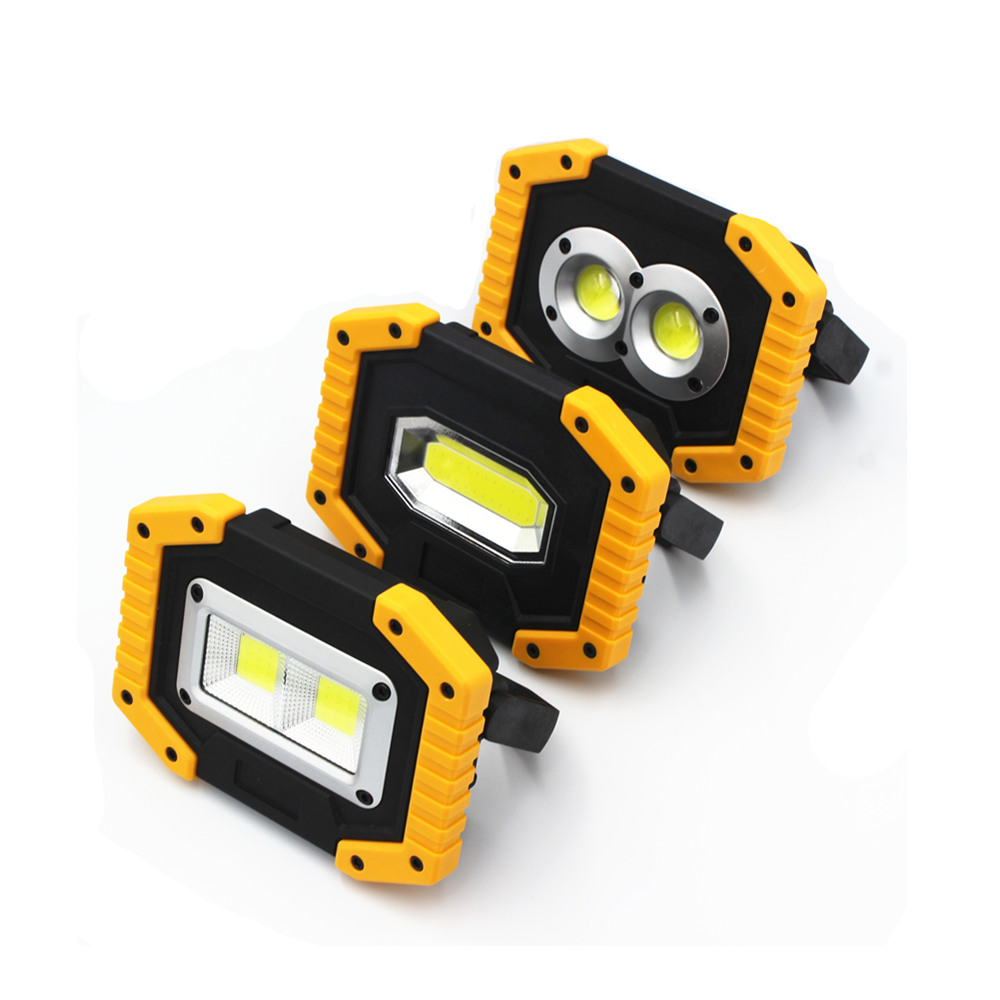 LED Portable Spotlights COB Camping Light 20W Outdoor Working Light 18650 Rechargeable Battery 3-Mode Portable Lanterns