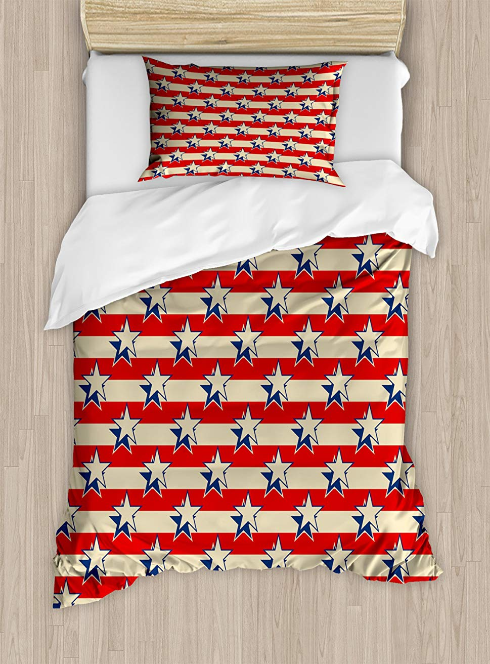 USA Duvet Cover Set  Nostalgic Independence Day Poster Pattern with Large Stars Western Graphic, Decorative 2 Piece Bedding Set USA Duvet Cover Set  Nostalgic Independence Day Poster Pattern with Large Stars Western Graphic, Decorative 2 Piece Bedding Set