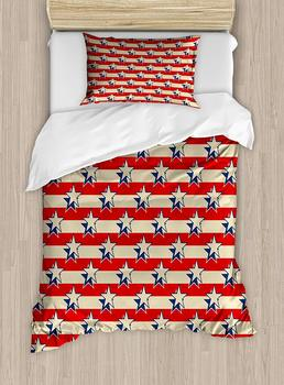 USA Duvet Cover Set  Nostalgic Independence Day Poster Pattern with Large Stars Western Graphic, Decorative 2 Piece Bedding Set
