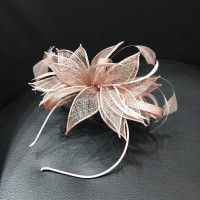 Brand Philippine Sinamay Fascinator Hair Band Women Feather Headwear Sinamay Flower Headbands For Ladies Cocktail Party Headwear