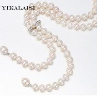 Yikalaisi 2017 натуральным пресноводного жемчуга длинные Цепочки и ожерелья 8 9 мм жемчужный шарик веревку Цепочки и ожерелья для Для женщин 925 сер