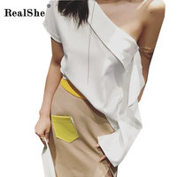 RealShe 2018 New Summer Cotton Top Shirts Women T Shirts One Shoulder Tshirt Ladies Elegant T