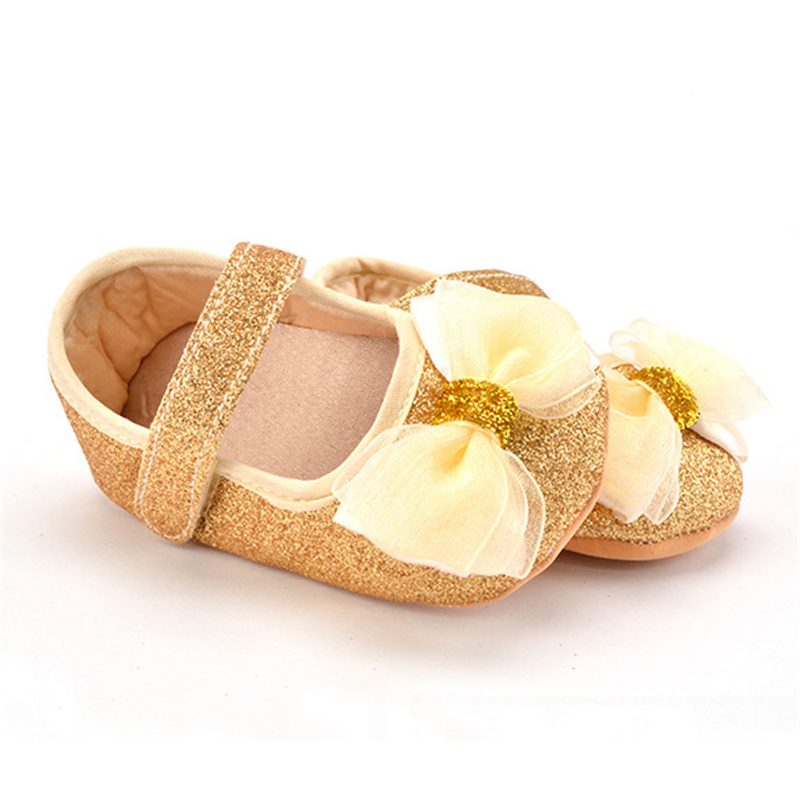 Puseky Fashion Baby Girl Shoes Hot Girl First Walkers Gold Bling Baby Girl Shoes With Big Bow For 0-12 Month Baby Gold/Rosered