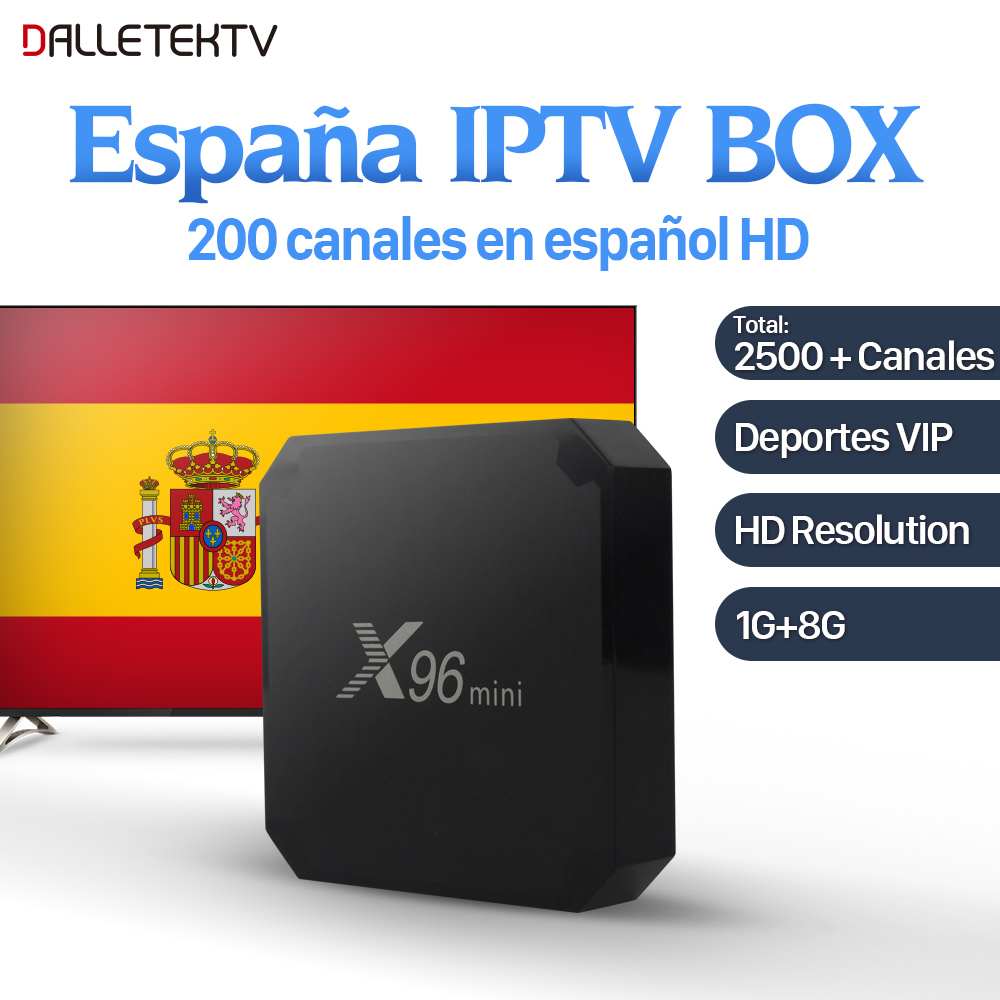 X96 mini IPTV Spain Box Android 7.1 S905W 1G 8G with IPTV Europe Germany UK Italy VIP Sport Live IPTV Subscription 1 Year IUDTV