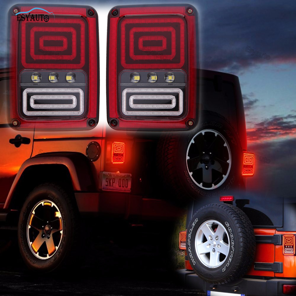 LED Tail Lights Smoked Red Taillights Tail Brake Light Reserve Light Real Back up Turn Signal Lamp for Jeep Wrangler accessories smoked red led taillights for jeep