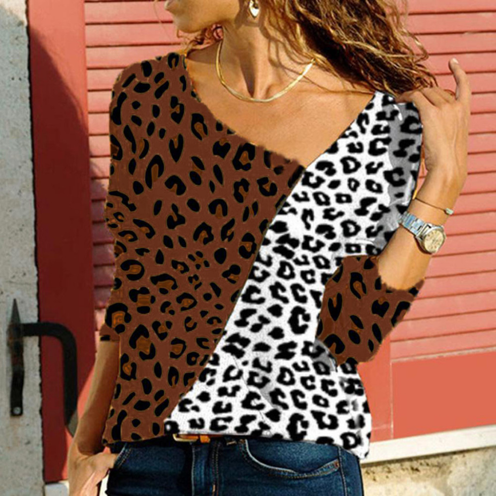 Women plaid shirts 2018 spring women sexy v-neck color matching leopard print patchwork shirt pullover top