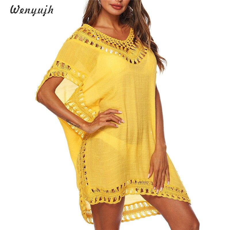 b81894d8a3d WENYUJH Новый 2019 кафтан пляжное платье-туника леди Плавание одежда летняя  пляжная туника бохо желтый