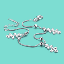 Free shipping women's 925 sterling silver chains summer lady popular silver jewelry Not allergic foot chain birthday present