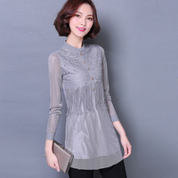 2017 Autumn Sexy Women See Through Perspective Sheer Mesh Fishnet Tee Bodycon Long Sleeve Tops T
