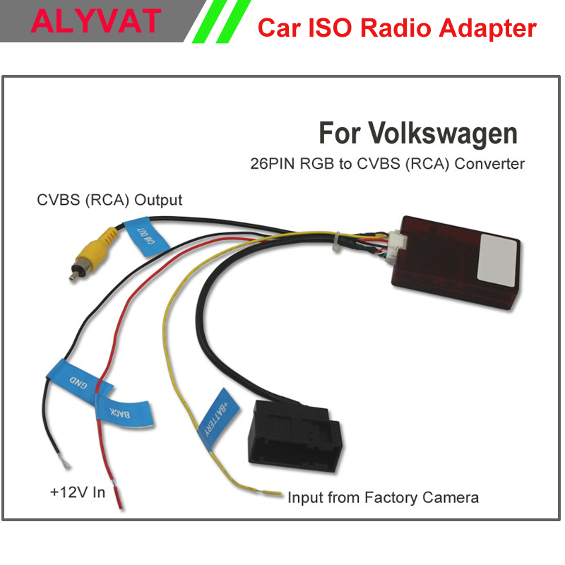 26 PIN RGB to CVBS (RCA) AV Converter for Volkswagen Factory Original Camera Output to Third Part OEM/After Market Head Unit DVD 0