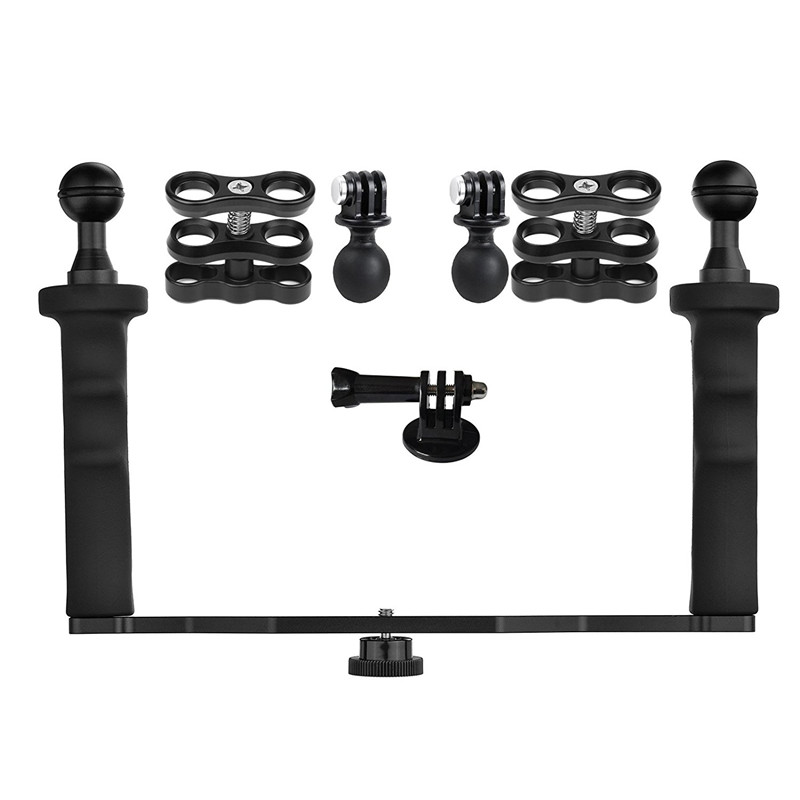 Sports Action Cameras Dual Handheld Stabilizer Diving Tray Ball Head Mount Kit for GoPro Hero 6 5 4 Session 3 Plus Xiaoyi SJCAM