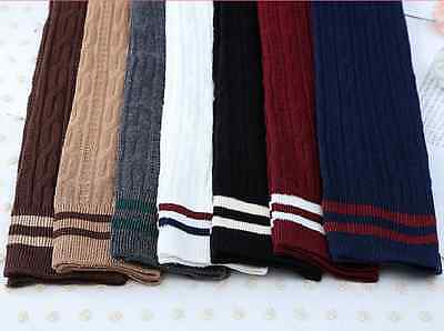 Women Knit Cotton Over The Knee Stocking Knit Socks Long Striped Thigh High Stocking Socks New